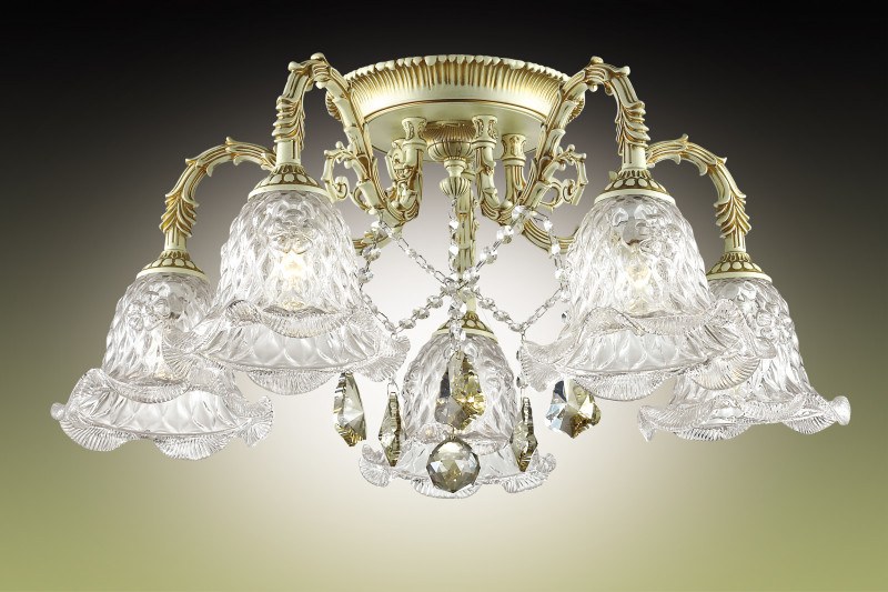 Odeon Light 2885/5C ODL16 005 кремовый/зол.патина/стекло/хрусталь Люстра потолочная E14 5*60W 220V TENERA