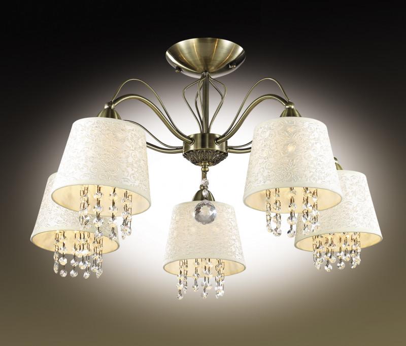 Odeon Light 2916/5C ODL16 063 бронзовый/абажур ткань/подвески хрусталь Люстра потолочная E14 5*40W 220V FONTE odeon light потолочная люстра odeon light arelata 2584 5