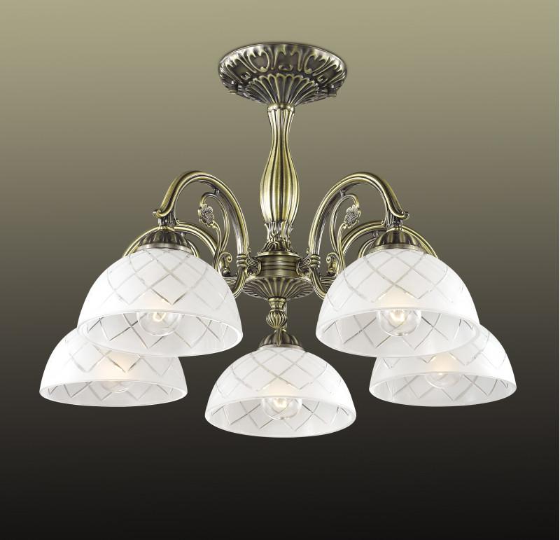 Odeon Light 2945/5C ODL16 080 бронзовый/стекло Люстра потолочная E27 5*60W 220V EMERIL odeon light потолочная люстра odeon light arelata 2584 5