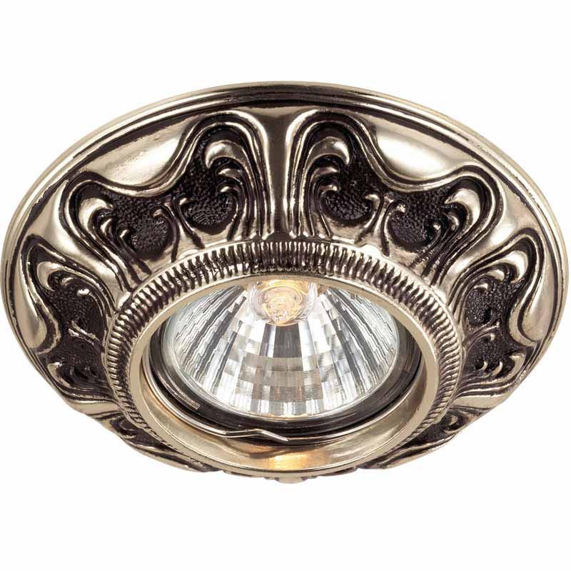 Novotech 369854 NT14 128 коричневый/золото Встраиваемый светильник IP20 GU5.3 50W 12V VINTAGE встраиваемый точечный светильник novotech vintage арт 369854