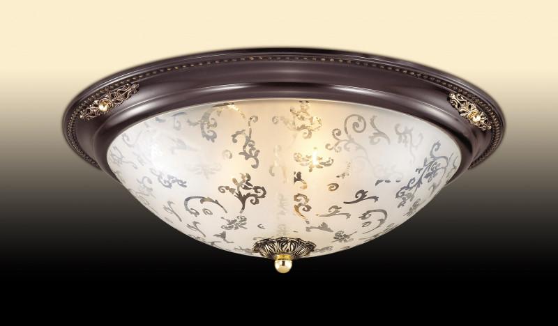 Odeon Light 2671/3C ODL14 193 коричн с зол.декор/белый Потолочн светильник  E27 3*60W 220V Corbea настенно потолочный светильник odeon light corbea 2671 3c