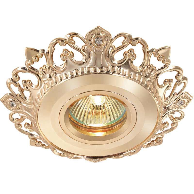 Novotech 369941 NT14 135 золото Встраиваемый светильник IP20 GU5.3 50W 12V VINTAGE встраиваемый светильник novotech vintage 369941