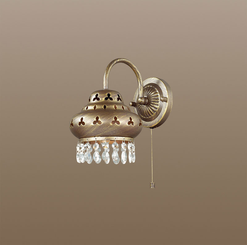 Odeon Light 2841/1W ODL16 157 коричневый с патиной/декор хрусталь Бра с выкл. E14 40W 220V BAHAR odeon light 2217 3w odl12 815 хром хрусталь подсветка с выкл g9 3 40w 220v loden