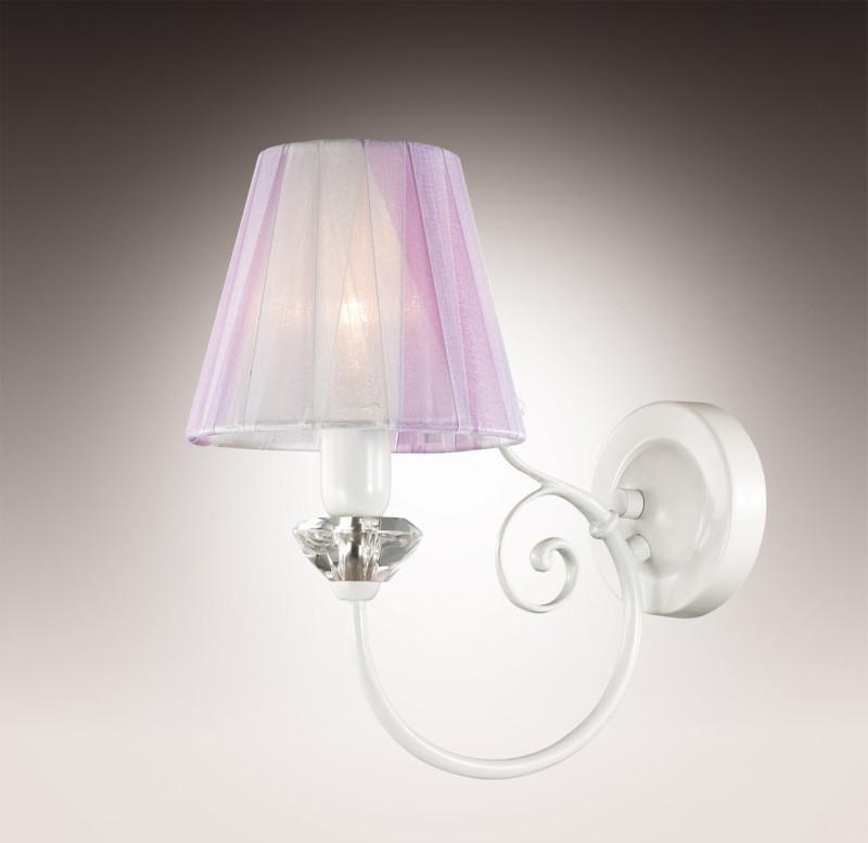 Odeon Light 2889/1W ODL16 035 белый/фиолет. и прозр. стекло/абажур ткань Бра E14 60W 220V MADINA потолочная люстра odeon light madina 2889 5c