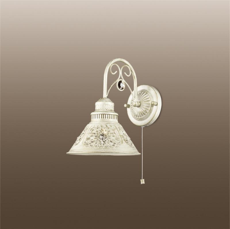 Odeon Light 2844/1W ODL16 153 белый/зол.патина /декор хрусталь Бра с выкл. E14 40W 220V KAMUN люстра на штанге odeon light kamun 2844 5c