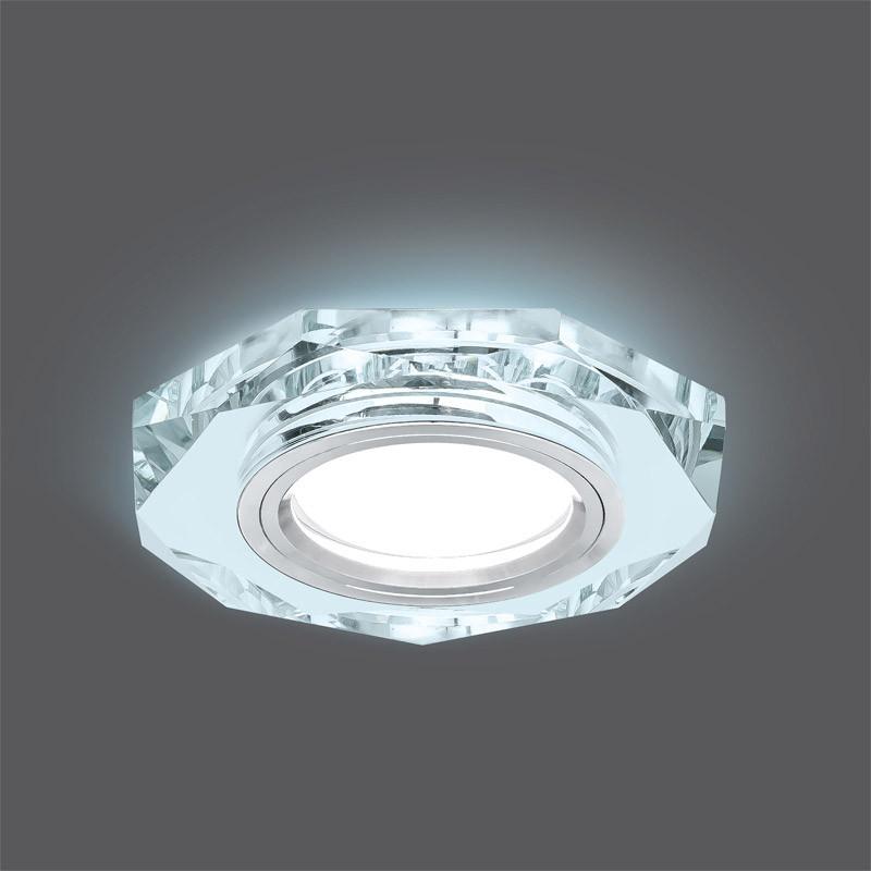 Gauss Светильник Gauss Backlight BL054 Восемь гран. Кристалл/Хром, Gu5.3, LED 4100K 1/40 gauss светильник gauss backlight bl070 круг гран черный серебро хром gu5 3 led 4100k 1 40