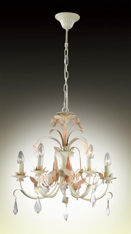 Odeon Light 2895/5 ODL16 029 кремовый/декор металл роз.бабочки/хрусталь Люстра E14 5*60W 220V FERA все цены