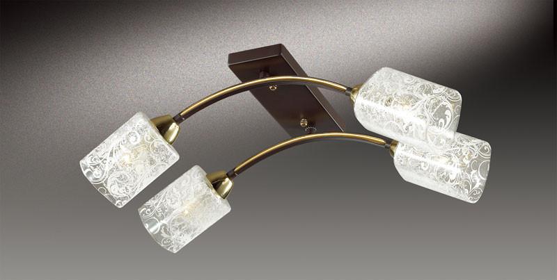 все цены на Odeon Light 2941/4C ODL16 099 коричневый/золото/стекло Люстра потолочная E14 4*60W 220V NANTES