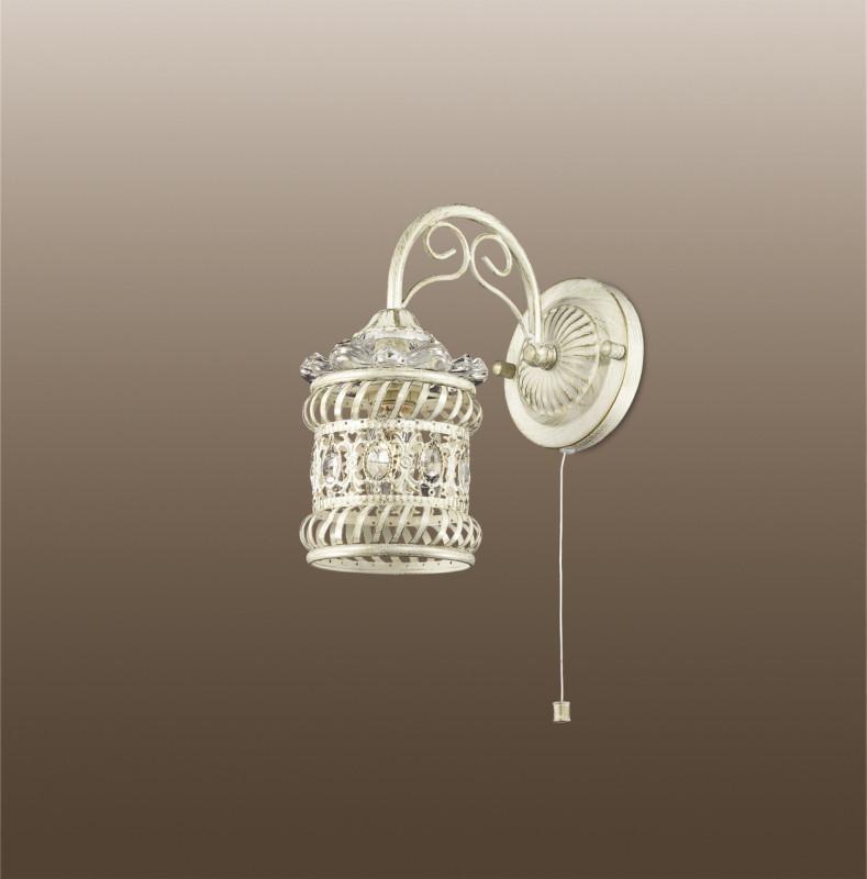 Odeon Light 2837/1W ODL16 155 белый/зол.патина /декор хрусталь Бра с выкл. E14 40W 220V ZAFRAN odeon light бра odeon light zafran 2837 1w