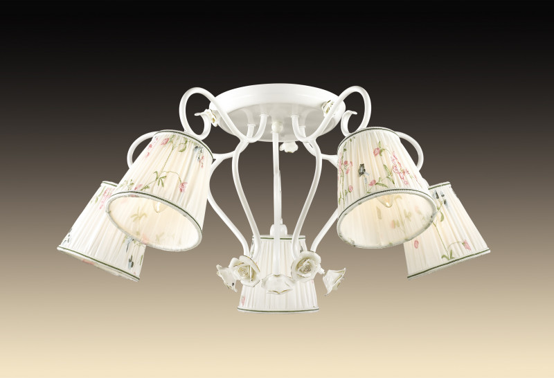 Odeon Light 2886/5C ODL16 027 белый/декор.керам.розы/абажур ткань Люстра потолочная E14 5*60W 220V MONTALA