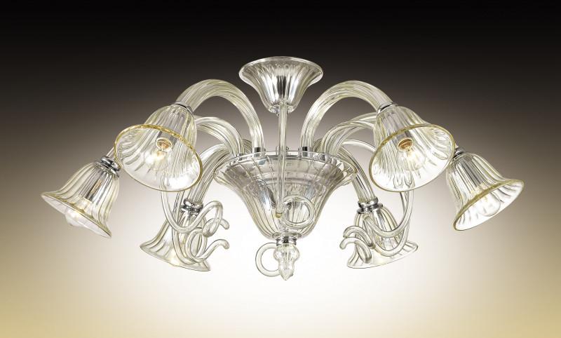 Odeon Light 2939/6C ODL16 135 хром/бежевое стекло в стиле Murano Люстра потолочная E14 6*40W 220V KEPTIN потолочная люстра odeon light keptin 2939 6c