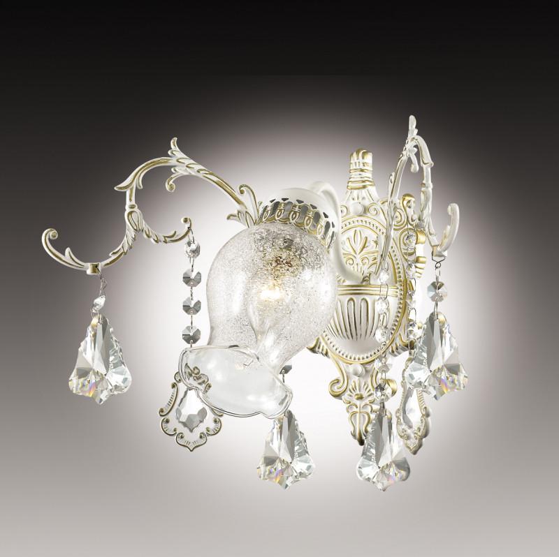 все цены на Odeon Light 2880/1W ODL16 017 белый/ зол.патина /хрусталь Бра E14 60W 220V GARDIA