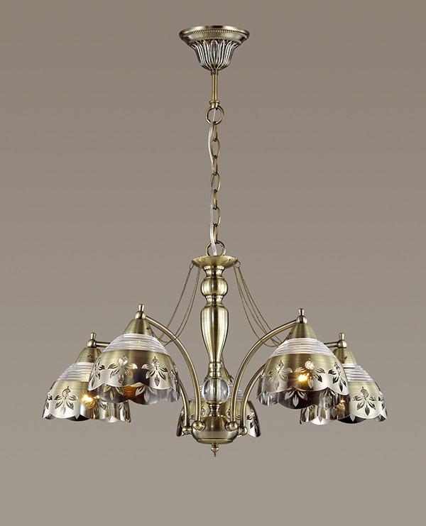 Odeon Light 3133/5 ODL16 029 бронзовый/стекло/декор.цепочки Люстра E14 5*40W 220V ALADA подвесная люстра odeon light alada 3133 5