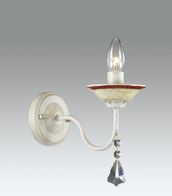 Фото Odeon Light 3218/1W ODL16 077 белый/зол.патина/керамика/хрусталь Бра E14 40W 220V VASCO. Купить с доставкой