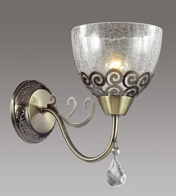 Odeon Light 3224/1W ODL16 031 бронзовый/стекло/метал. декор/хрусталь Бра E27 60W 220V AVRILLA