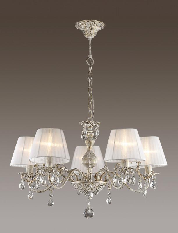 Odeon Light 3229/5 ODL16 019 белый/зол.патина/ткань/хрусталь Люстра E14 5*40W 220V MAGALI