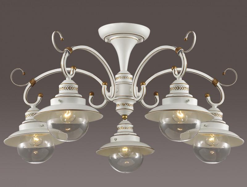 Odeon Light 3248/5C ODL16 069 белый/зол.патина/стекло Люстра потолочная E14 5*60W 220V SANDRINA люстра на штанге odeon light sandrina 3249 5c