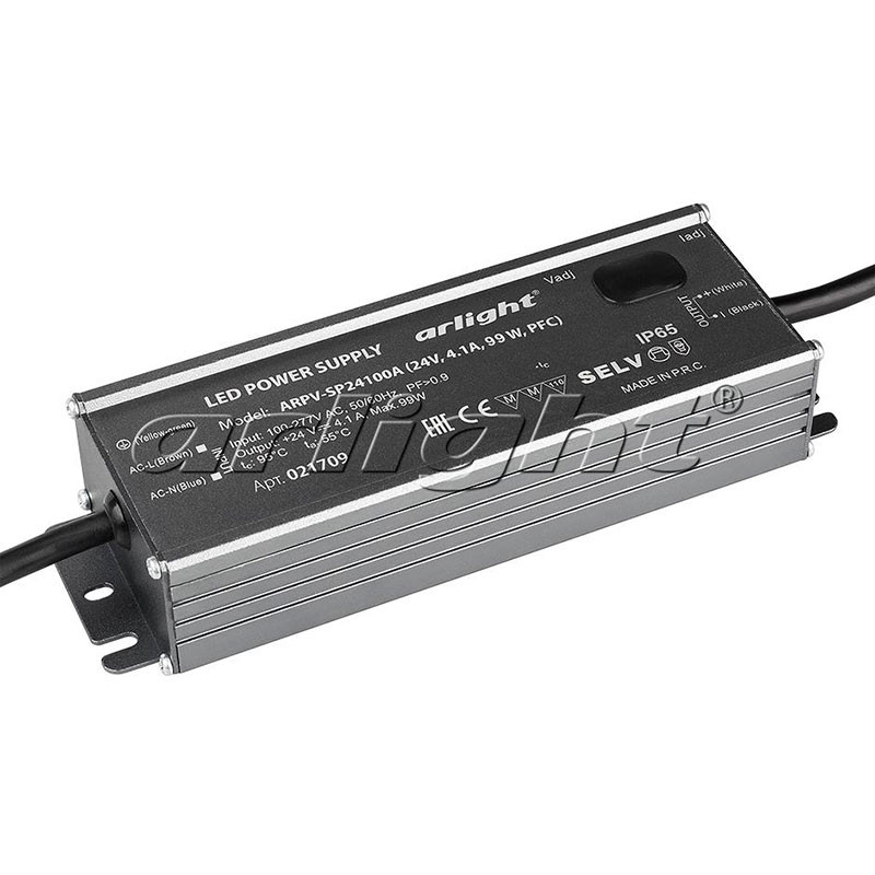 Arlight Блок питания ARPV-SP24100A (24V, 4.1A, 99W, PFC) aaa mean well original sp 320 24 24v 13a meanwell sp 320 24v 312w single output with pfc function power supply