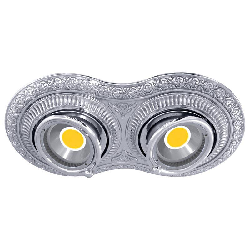 Fede FD1015SCB Поворотный точечный светильник из латуни на 2 лампы, блестящий хром точечный светильник philips led 2 5 3 5w3