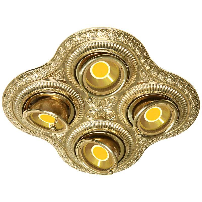 Fede FD1016SOB Поворотный точечный светильник из латуни на 4 лампы, блестящее золото светильник точечный накладной коллекция vitoria surfase fd1012sob латунь блестящее золото fede феде