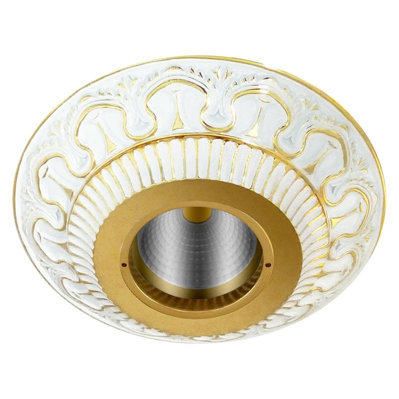 Фото Fede FD1019ROPTR Круглый точечный светильник из латуни IP44, прозрачное стекло, золото с белой патиной. Купить с доставкой