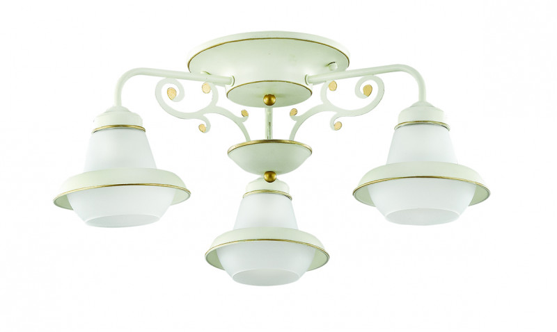 Фото LUMION 3105/3C LN16 000 белый/зол.патина/метал/стекло Люстра потолочная E27 3*60W 220V TEFIDA. Купить с доставкой