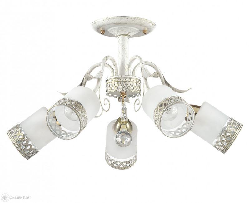 LUMION 3237/5C LN16 000 белый/зол.патина/стекло/метал. декор Люстра потолочная E14 5*60W 220V GAETTA
