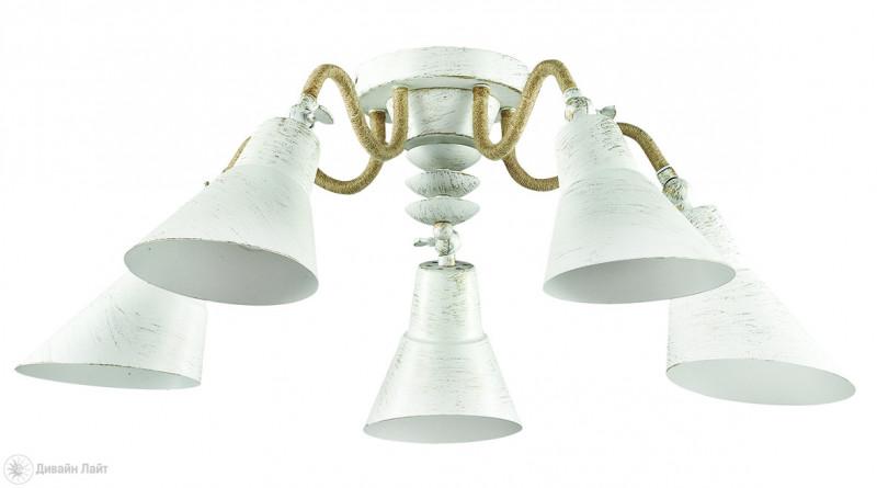LUMION 3246/5C LN16 000 белый/зол.патина/металл/канат.веревка Люстра потолочная E27 5*60W 220V ARGO