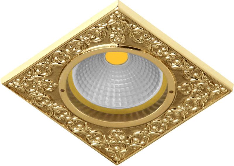 Fede FD1026COB Квадратный точечный светильник из латуни, bright gold fede fd1026ccb квадратный точечный светильник из латуни bright chrome