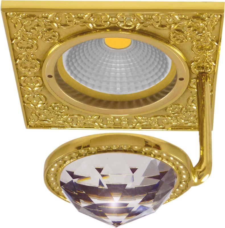 Fede FD1033CLOB Квадратный точечный светильник из латуни с крупным кристаллом, bright gold fede fd1026ccb квадратный точечный светильник из латуни bright chrome