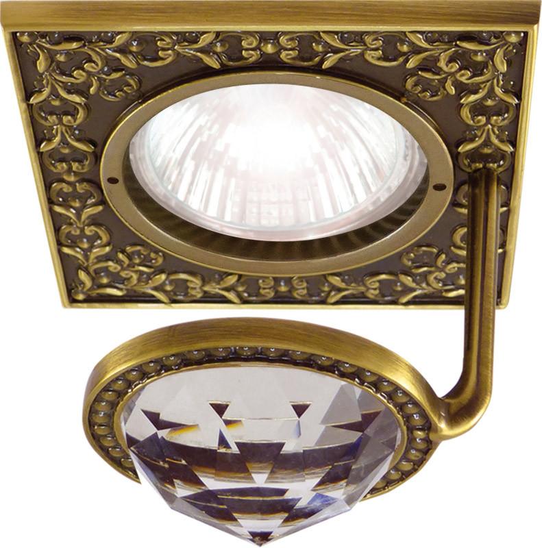 Fede FD1033CLPB Квадратный точечный светильник из латуни с крупным кристаллом, bright patina fede fd1026ccb квадратный точечный светильник из латуни bright chrome
