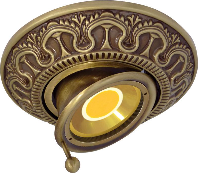 Fede FD1038ROP Круглый точечный поворотный светильник из латуни, gold white patina