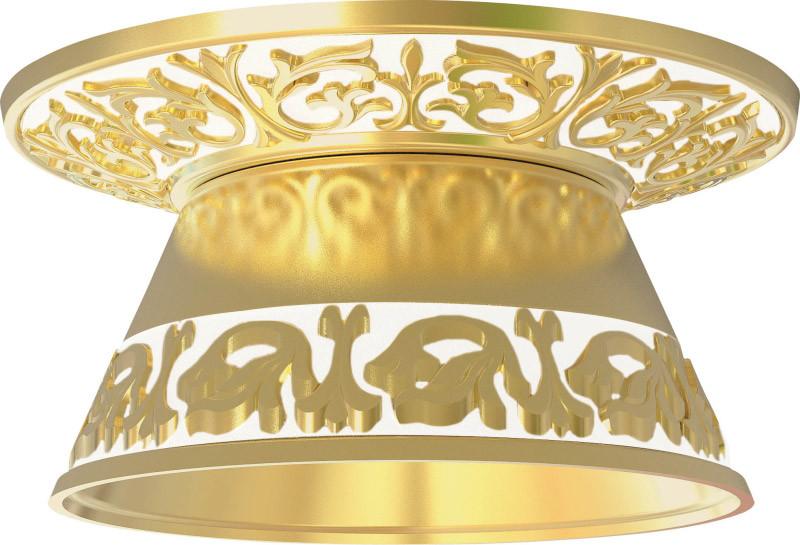 Fede FD1101ROP Круглый встраиваемый точечный светильник из латуни с декорат.рассеивате, gold white patina