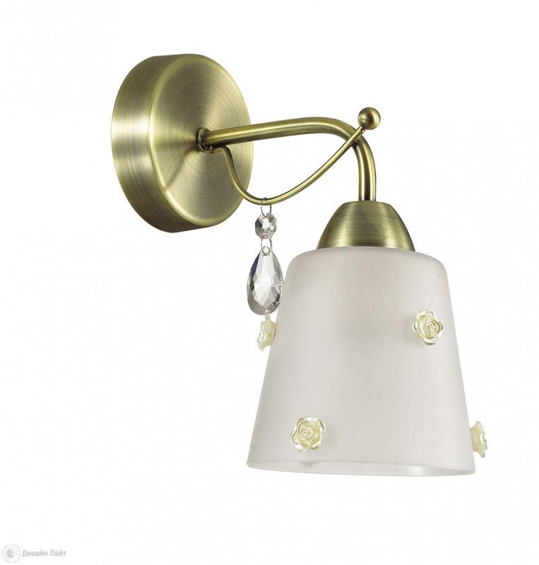 Фото LUMION 3389/1W LN17 000 бронзовый/стекло/ткань/декор хрусталь Бра E27 60W 220V SIPRIANO. Купить с доставкой