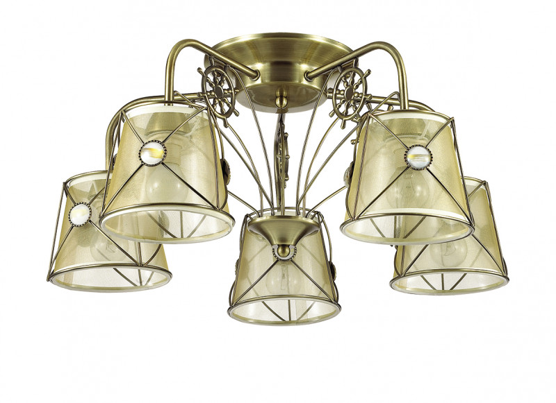 LUMION 3419/5C LN17 000 бронзовый/абажур ткань/метал.декор Люстра потолочная E14 5*60W 220V OZANNA