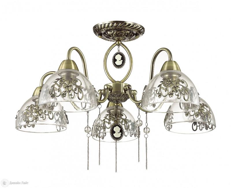 LUMION 3452/5C LN17 000 бронзовый/стекло Люстра потолочная E27 5*60W 220V ABSOLONA