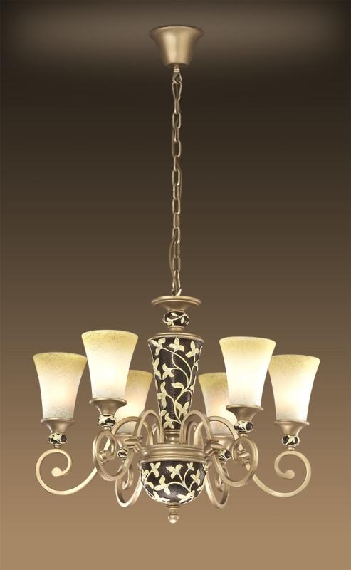 Odeon Light 2456/6 ODL13 667 коричневый Люстра  E27 6*60W 220V PERRY prorab 2456 16х350