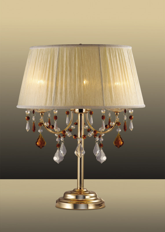 Odeon Light 2534/3T ODL13 235 золото/хрусталь/абажур бежевая органза Н/лампа E14 3*40W 220V ADELI