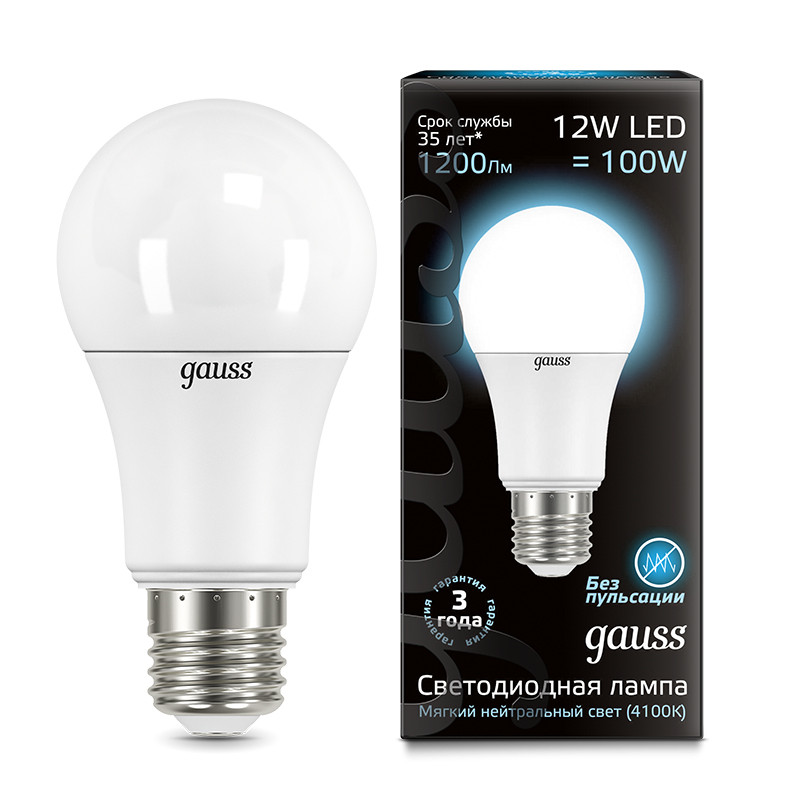 Gauss Лампа Gauss LED A60 globe 12W E27 4100K 1/10/40 gauss лампа gauss elementary led a60 15w e27 4100k 1 10 40
