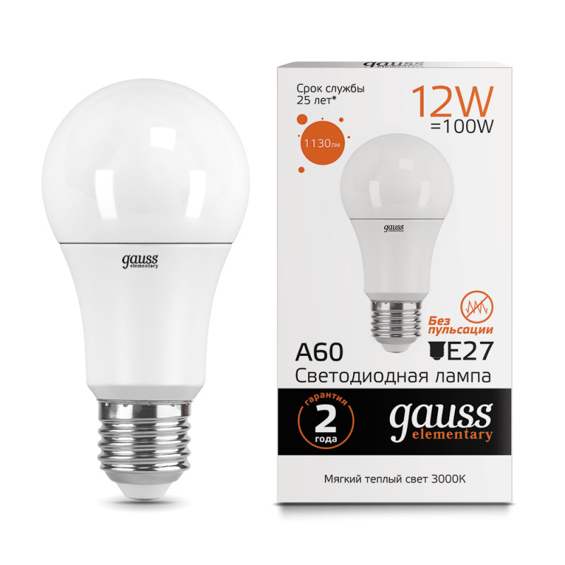 Gauss Лампа Gauss LED Elementary A60 12W E27 2700K 1/10/40 все цены