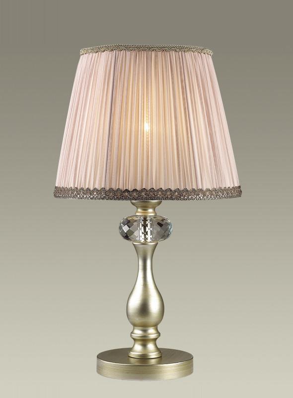 Odeon Light 3390/1T ODL17 000 мат.зол/серебр.патина/абажур ткань/хрусталь Настольная лампа E14 40W 220V AURELIA