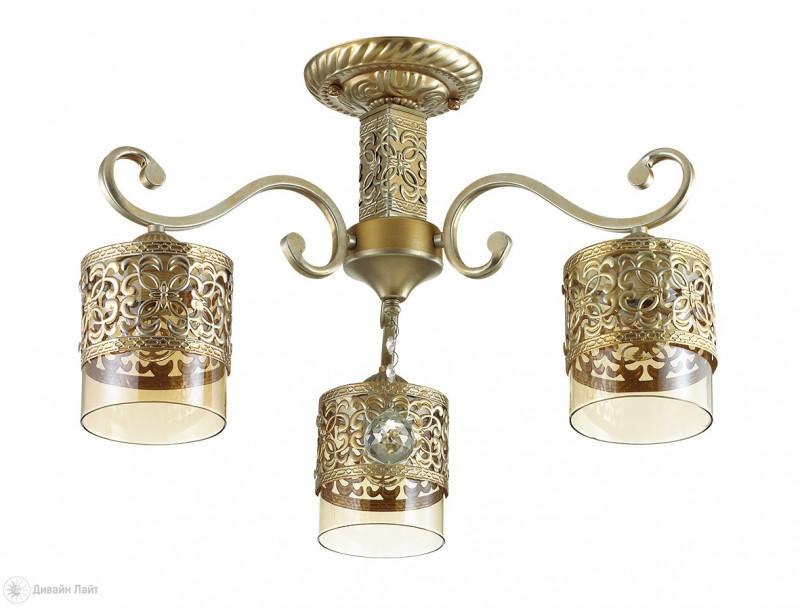 Фото LUMION 3286/3C LN17 000 бронза/серебр.патина/стекло/метал.декор/хрустал. подвеска Люстра потолочная 3*40W. Купить с доставкой