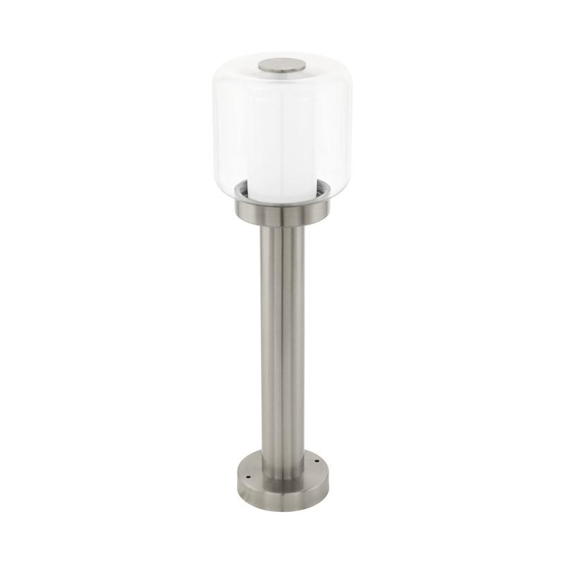 EGLO Уличный светильник напольный POLENTO, 1х40W (E27), H500, нерж. сталь/стекло, прозрачн., белый