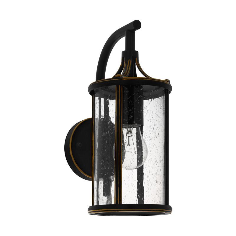EGLO Уличный светильник настенный APIMARE, 1х60W (E27), L140, H310, гальван. сталь, черный/стекло с капл светильник на штанге eglo apimare 96233