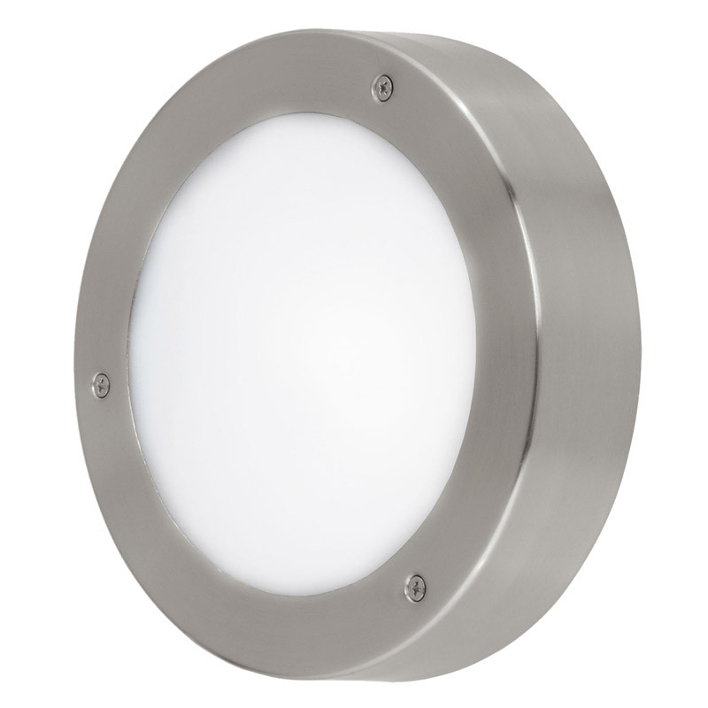 EGLO Уличный светодиодный светильник настенно-потол. VENTO 2, 1х5,4W(LED), ?185, нерж. cталь/ пластик,  б