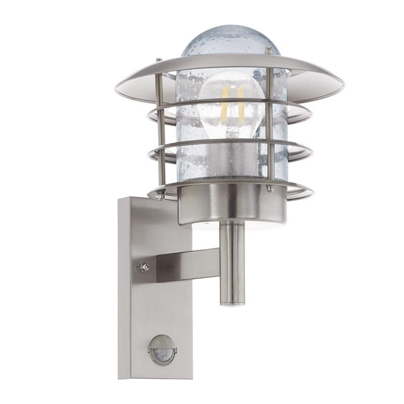 EGLO Уличный светильник напольный MOUNA c датчиком движения, 1х60W (E27), H265, нерж. сталь/стекло