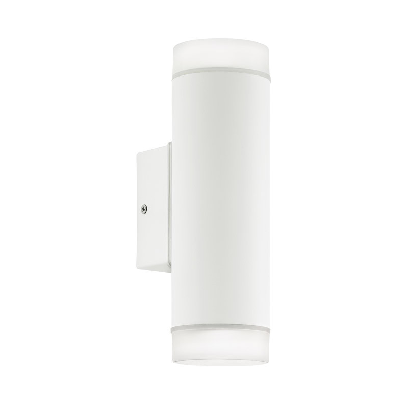 EGLO Уличный светодиодный светильник наcтенный RIGA-LED, 2х5W (GU10), H205, гальван. сталь, белый/пластик светильник на штанге eglo riga 94099