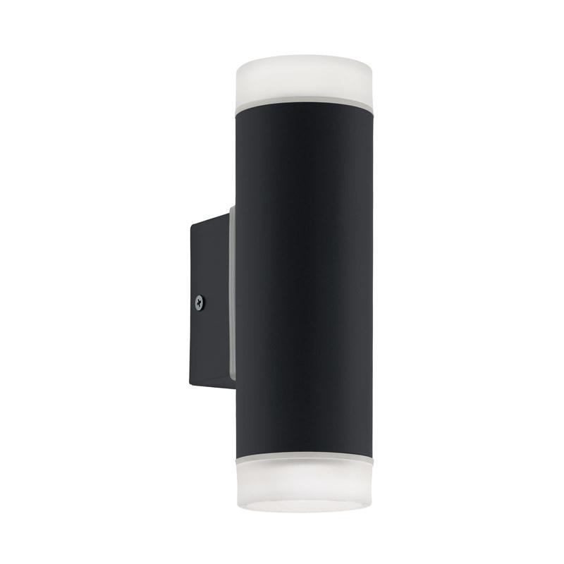EGLO Уличный светодиодный светильник наcтенный RIGA-LED, 2х5W (GU10), H205, гальван. сталь, черный/пласти светильник на штанге eglo riga 94099