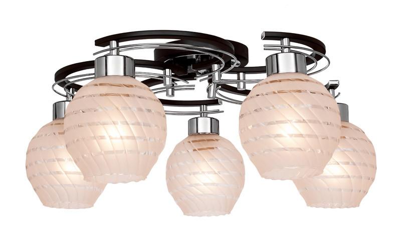 где купить Silver Light Люстра потолочная Silver Light, серия Viola, цвет венге/хром,5XЕ14X60W по лучшей цене