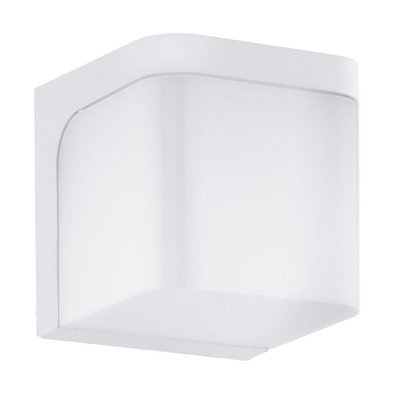 EGLO Уличный светодиодный светильник настенный JORBA, 1х6W(LED), 110х110, литой алюминий, белый/пластик, фотошторы magic lady комплект фотоштор для гостиной зелёные острова полиэстер плотностью 175 г кв м 290 265 см